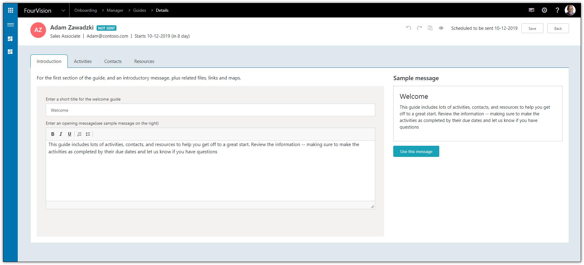 Onboarding Web App Dynamics HR FourVision
